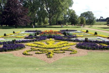 sunken: sunken garden. flower beds. park