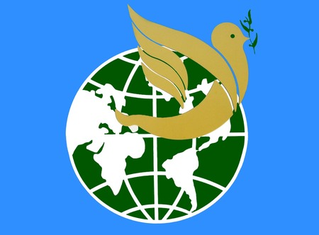 dove with olive branch: peace to the globe. dove carrying olive tree branch Stock Photo
