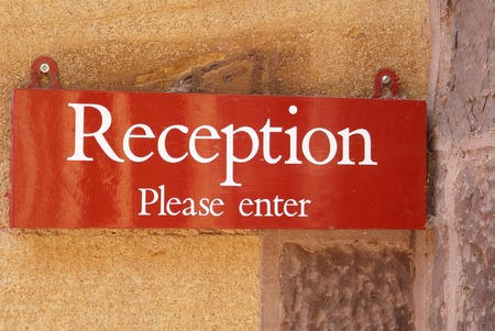 please: Reception sign. Reception Please enter sign. Stock Photo