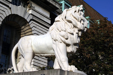westminster city: South Bank Lion in London, England, Europe Stock Photo