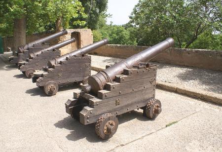 war decoration: Cannons, Alacazaba And  Gibralfaro Castle, Malaga, Andalusia, Spain