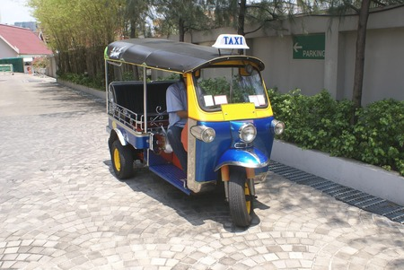 autorick: Tuk-tuk. Taxi. Auto rickshaw. Rickshaw. Three-wheeler. Trishaw. Stock Photo