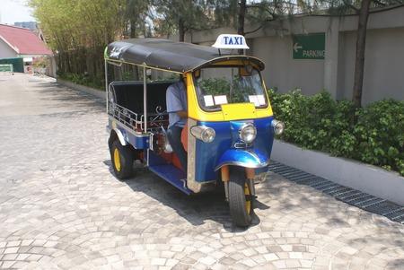 autorick: Tuk-tuk. Taxi. Auto rickshaw. Rickshaw. Three-wheeler. Trishaw. Stock Photo
