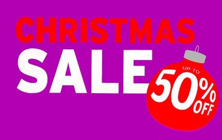 half price: Christmas sale sign. Christmas Sale 50% off. Christmas half price sale sign