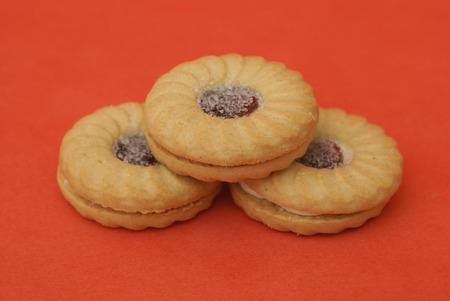 jam biscuits: Biscuits. cookies. raspberry jam and custard cookies or biscuits