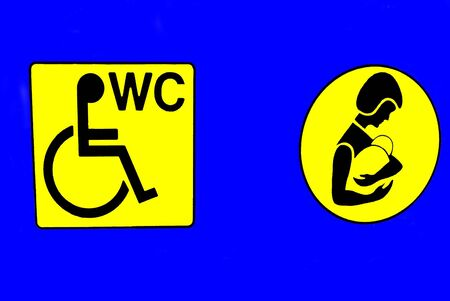wc sign: WC sign. Public toilet sign Stock Photo