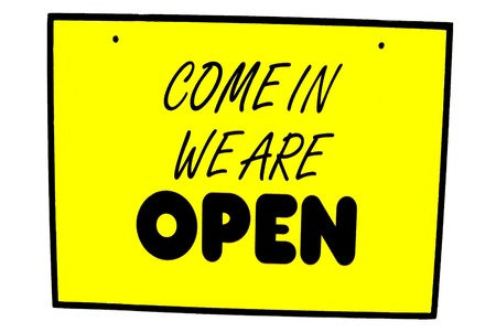 come in: Come in we are open sign. Open sign Stock Photo