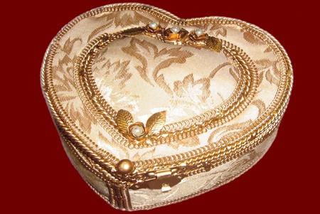 jewelry box: vintage antique heart-shaped jewelry box Stock Photo