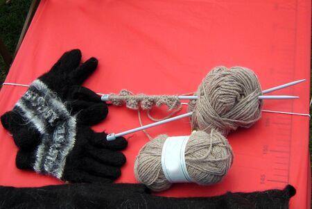 knitting needles: DIY knitting wool yarn. balls. knitting needles and gloves
