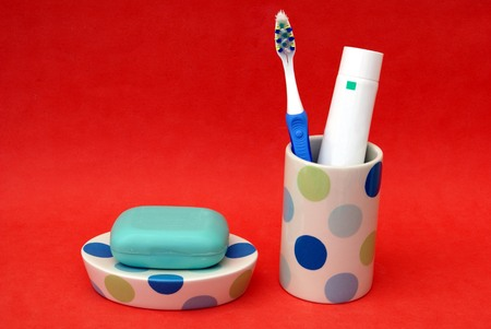 toiletry: bathroom toiletry. soap tablet. toothbrush and toothpaste Stock Photo