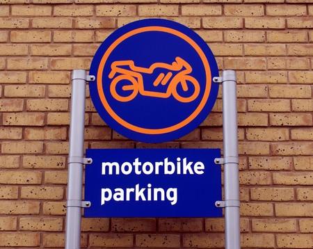 transportaion: motorbike parking sign Stock Photo