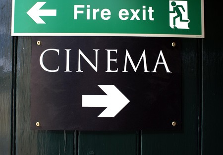 fire exit: Cinema sign. Fire Exit sign