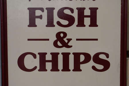 fish and chips: fish & chips sign