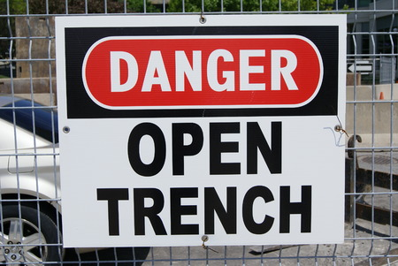 open trench: Danger open trench sign