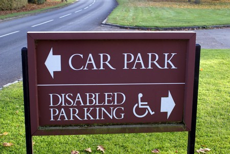 disabled parking sign: car park sign. disabled parking sign