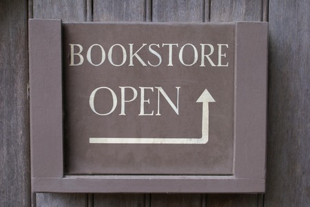 book store sign. bookstore open sign