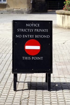 strictly: notice strictly private no entry beyond this point sign