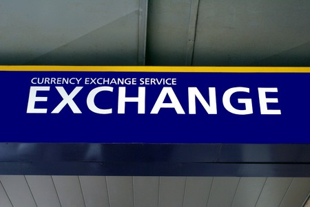 money exchange: Foreign currency exchange service sign. Exchange sign. money exchange sign Stock Photo