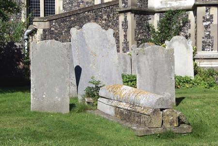 headstones: cemetery. churchyard. graveyard. headstones. tombstones Stock Photo