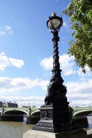 westminster bridge: Vintage sculptured lamp, Westminster Bridge, London, England Stock Photo