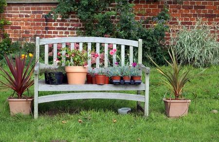 plant pots: garden bench with plant pots
