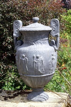 antique vase: vintage antique lidded urn or vase decoration