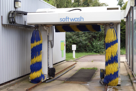 hygien: auto wash. car wash machine at a filling station
