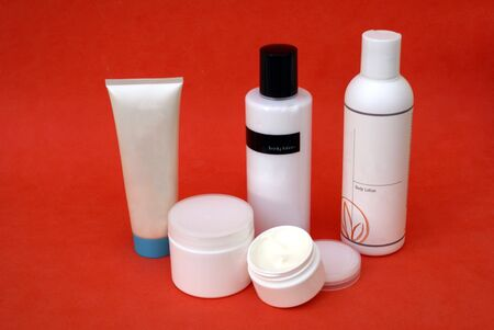body lotion: body care products. bottles of cream. skin moisturiser. body lotion Stock Photo