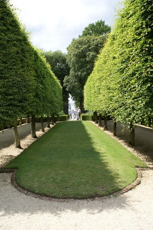 bordered: garden lawn bordered by a path Stock Photo