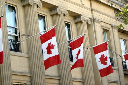 decoraton: Flags of Canada. Canadian flags. Maple leaf. National flag of Canada Stock Photo