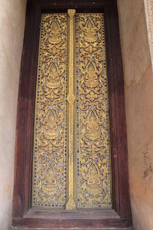 an obeisance: Door in Temple Stock Photo