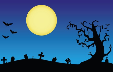 necropolis: Halloween night scene with the moon and the silhouette of a bat flying Illustration