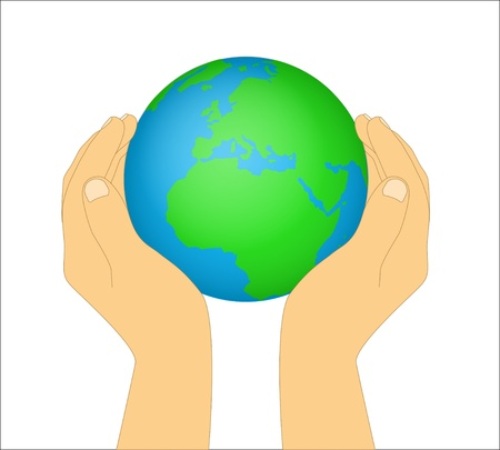 Hands holding the earth on a background Stock Vector - 16298293