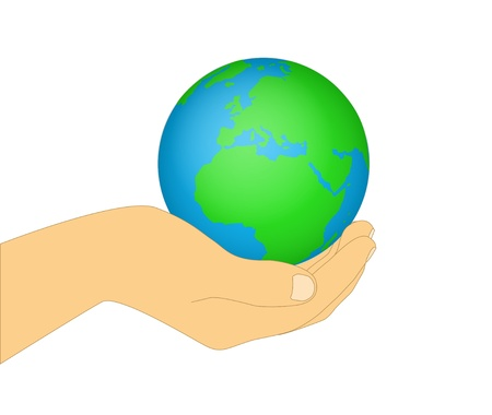 Hands holding the earth on a background Stock Vector - 16298292