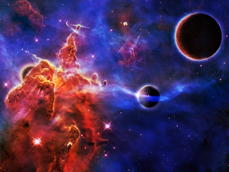 planet near a Nebula with new star formations Stock Photo
