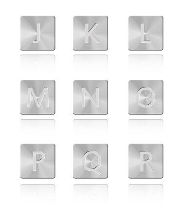 Metal font Button J - R Stock Photo - 17328653