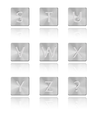 Metal font Button S - Z Stock Photo - 17328655