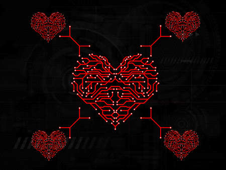 Circuit red love hearts photo