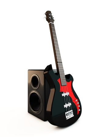 hardrock: Electric Bass Guitar Stock Photo