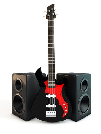 hardrock: Electric Bass Guitar Stock Photo