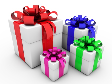 3d gift box with ribbons and bow Stock Photo - 18235835