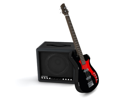 3d amplifier and bass isolated on white background photo