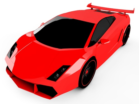 3d red sports car isolated on white background Stock Photo - 18683908
