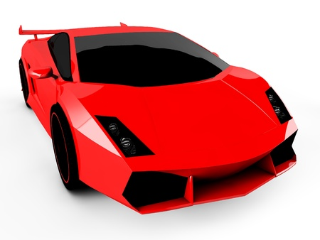 3d red sports car isolated on white background Stock Photo - 18683904