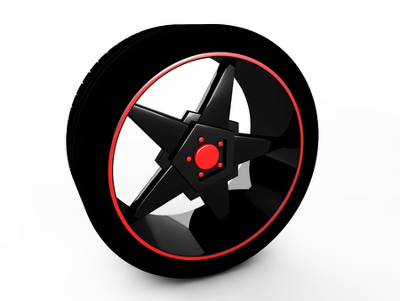 3d wheel isolated on white Stock Photo - 18683885