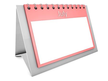 July blank calendar photo