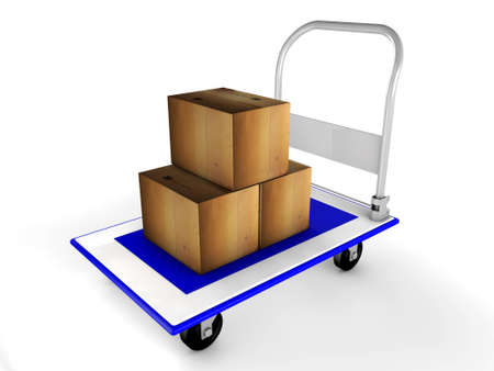 warehousing: 3d trolley with boxes