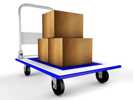 3d trolley with boxes photo