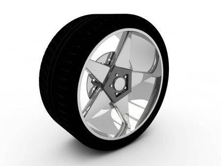 Car tire with rim on a white background Stock Photo - 19558564