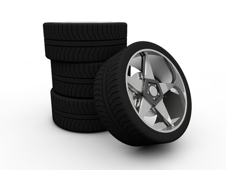 Car tire with rim on a white background  Stock Photo - 19558578